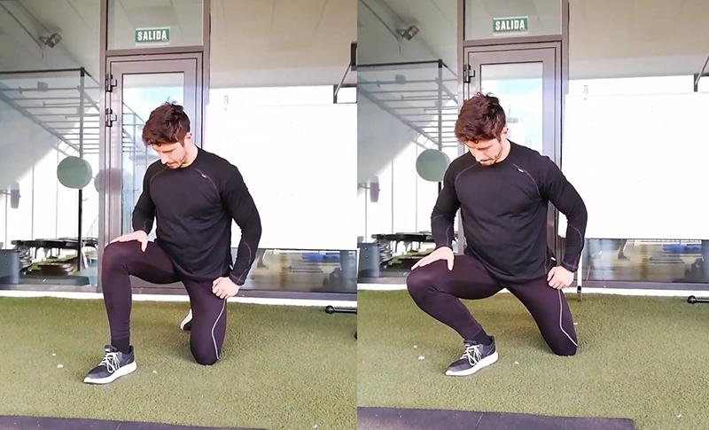 Pablo Blasco realizando el ejercicio de dorsiflexión