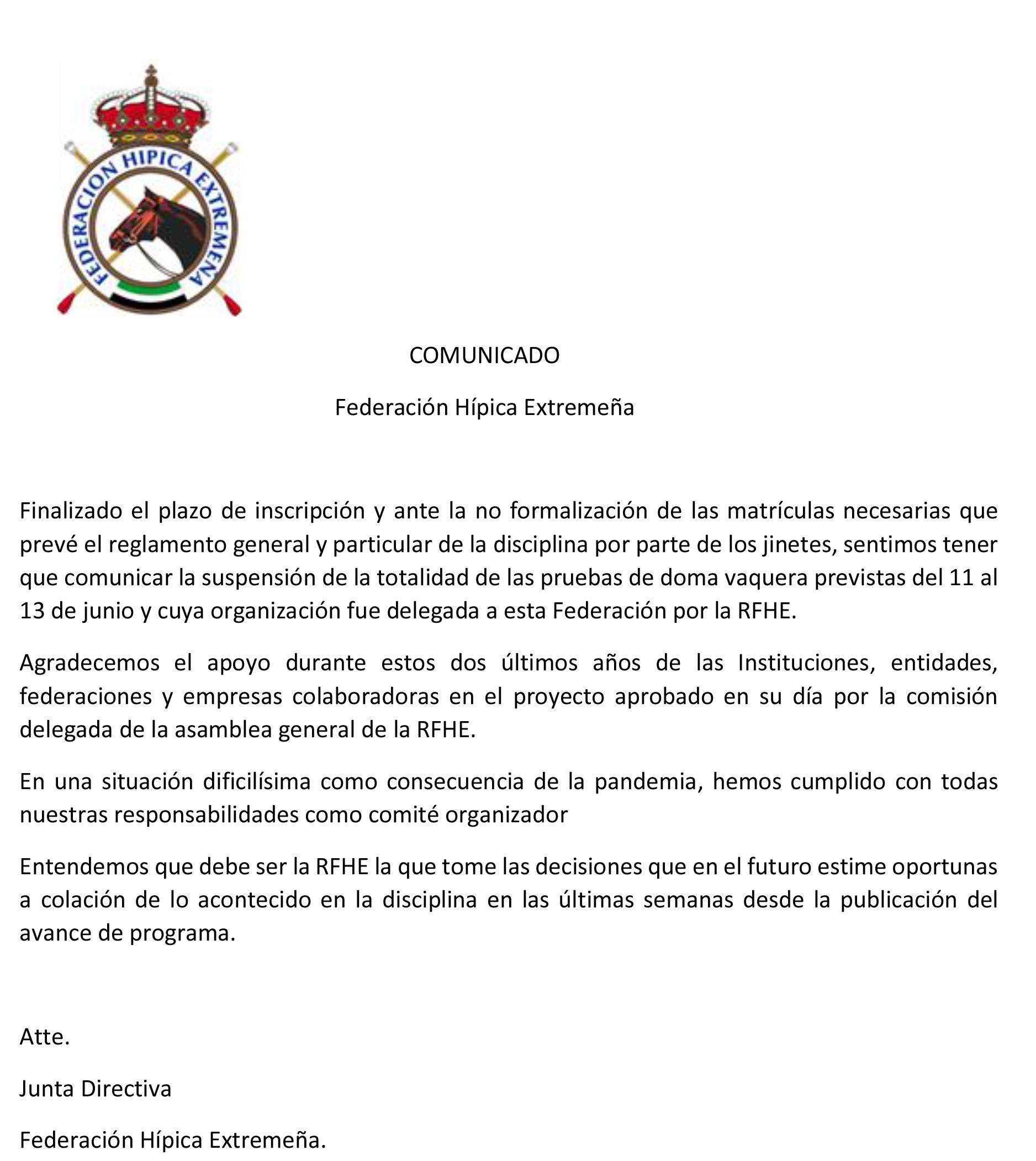 Comunicado Federación Hípica Extremeña
